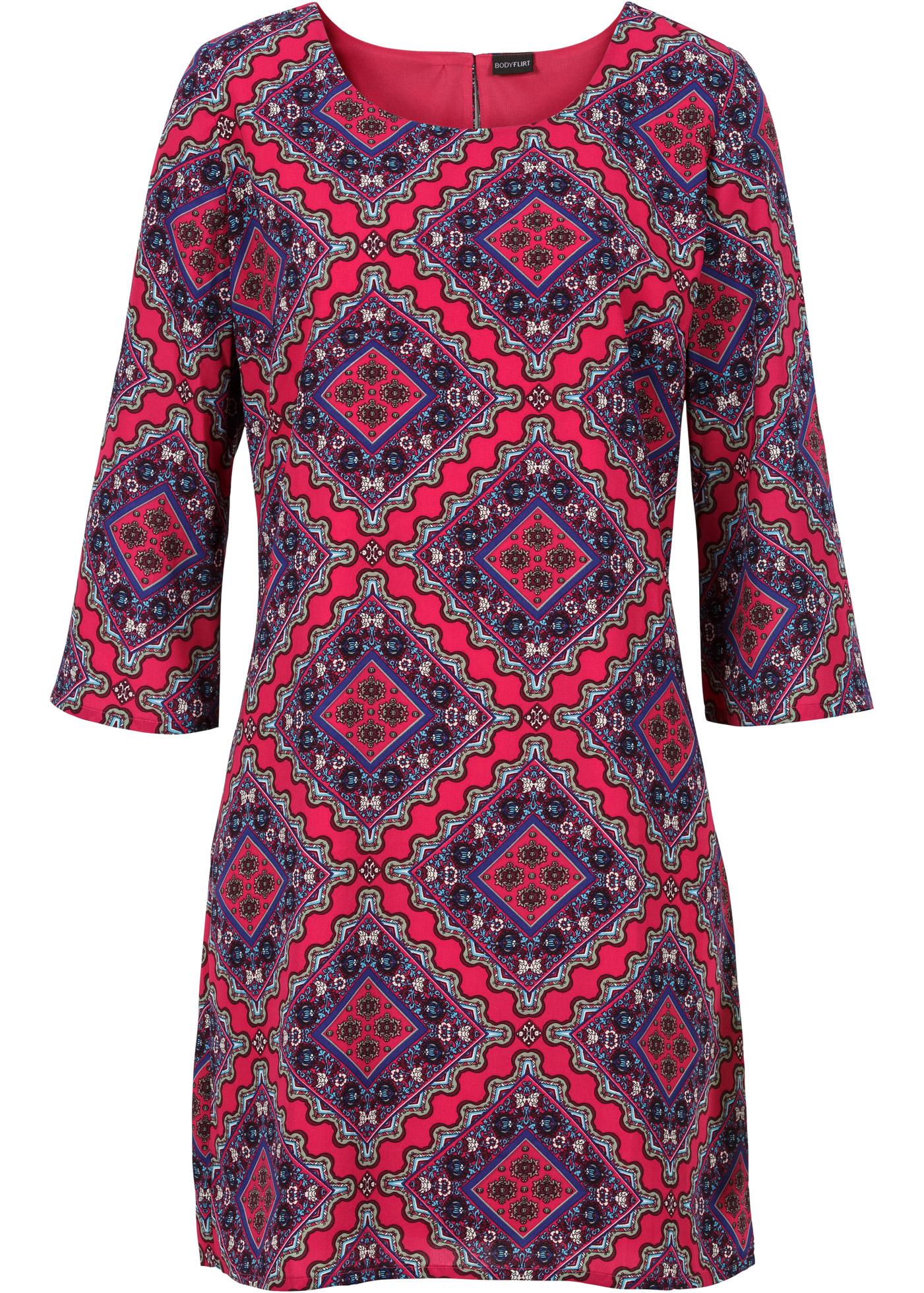 bodyflirt damen modisches kleid mit alloverprint in gr e 52 neu ebay. Black Bedroom Furniture Sets. Home Design Ideas