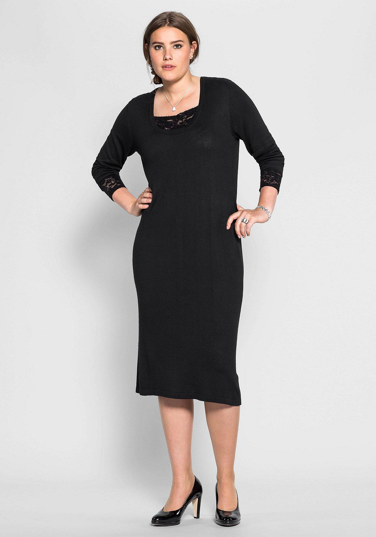 Sheego Damen Strickkleid Spitze Kleid Dress Black Schwarz Abend Strick NEU