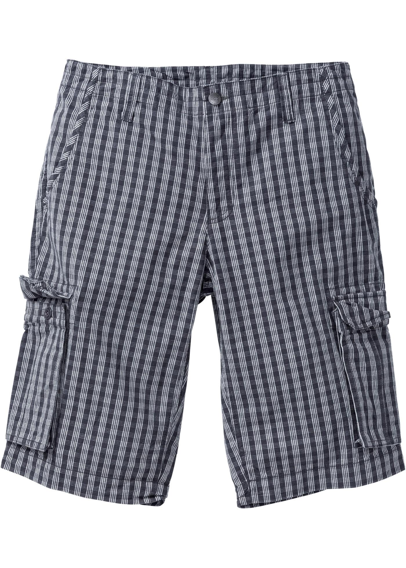 4420f4f9e32a Herren Karo Bermuda Shorts kurze Hose Grey Loose Fit Grau Sommer ...