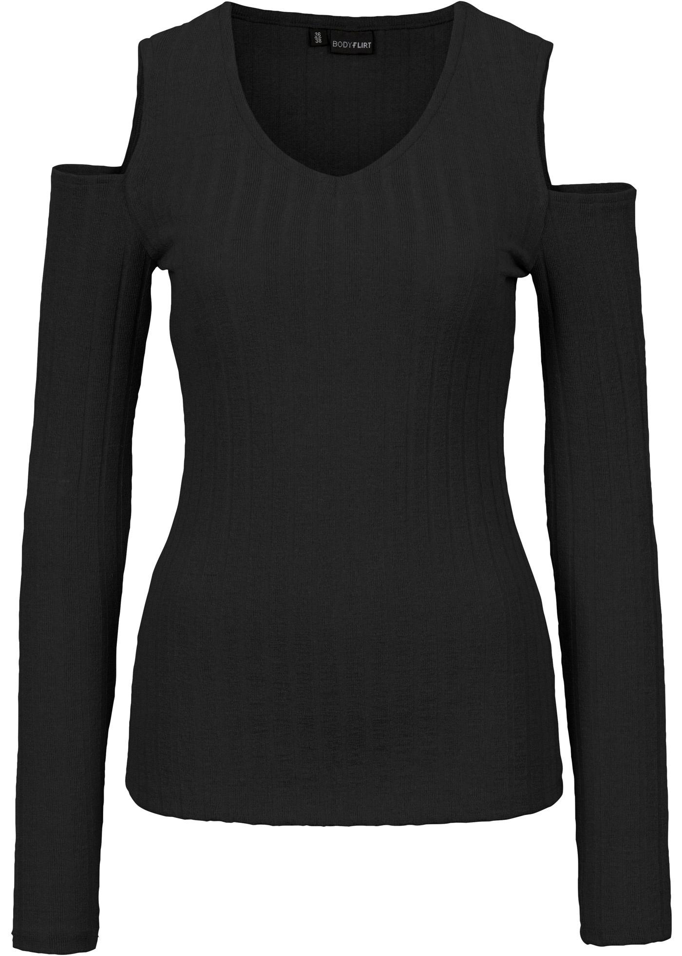 bodyflirt damen rippen shirt mit cold shoulder optik. Black Bedroom Furniture Sets. Home Design Ideas