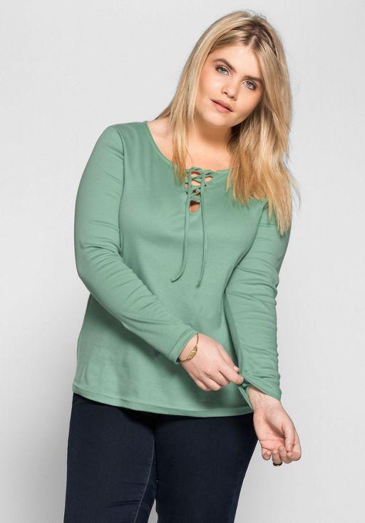 sheego damen langarmshirt shirt top gr n green bluse long. Black Bedroom Furniture Sets. Home Design Ideas