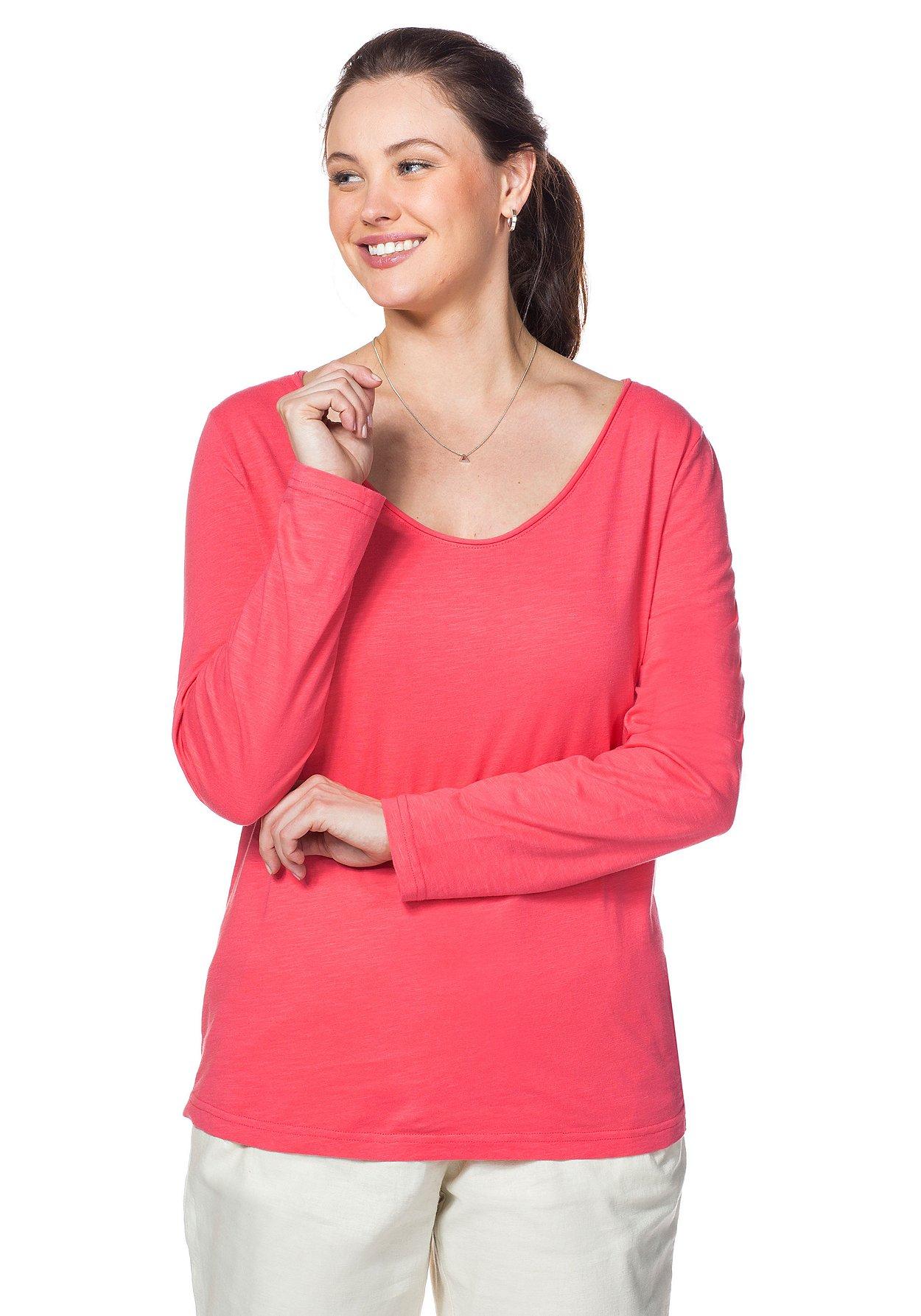 sheego damen langarm shirt rundhals pink top oberteil. Black Bedroom Furniture Sets. Home Design Ideas